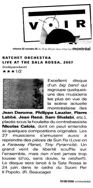 Ratchet Orchestra Press-Voir